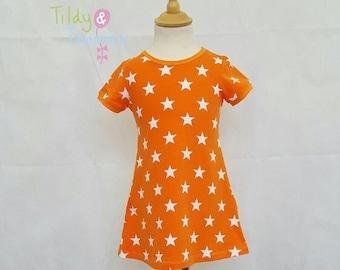Orange Star Dress/babygirl/girls/toddler/kids/kids clothing/gifts for girls/stars
