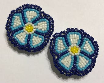 Navajo Native American beaded blue flower lever post earrings