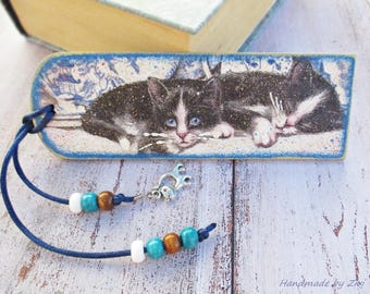Wooden Black And White Kitten Bookmark, Cat Bookmark, Cat Lover Gift, Wooden Bookmark, Book Lover Gift, Pets Bookmark, Cat collectibles