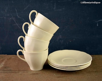 Set of Vintage 1930's Alfred Meakin England China Plain Cream Color 4 Cups and 4 Saucers Retro Classical English Pottery Drinkware