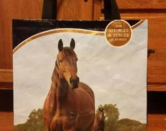 Recycled Feed Bag Tote Bag  Horse, Equine (repurposed, upcycled) GROCERY BAG Now with polypropylene web strap handles