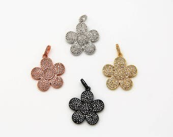 CZ Micro Pave 25mm Flower Pendant With CZ Bail
