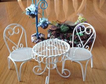 Miniature Garden Set Of Table U0026 2 Chairs, Fairy Garden Decor, Terrarium  Decor,