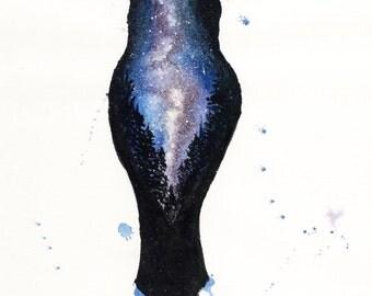 ORIGINAL Watercolour Painting - Milky Way Owl.