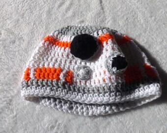 Star Wars the Force Wakens BB8 inspired crochet winter beanie hat, cosplay, costume, skull cap, adult kids baby teen, geeky, nerd sci-fi fun