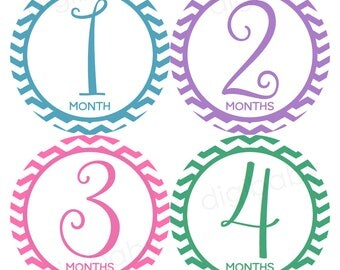 chevron Baby Month Stickers Girl, Monthly Baby Stickers, Baby Stickers, Monthly Milestone, Printable stickers DIY PDF set of 12