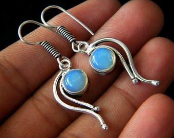 Opalite Dangle Earrings, Silver Plated Earrings, Opalite Silver Plated Jewelry, Beautiful Dangle Earrings SH-2891