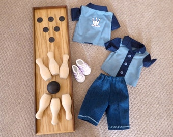 """Sale/Boy or Girl Doll Bowling Alley Set/Bowling Shirt, Pants, Shoes & Bowling Pins/18"""" Doll Sports Set/Unisex doll Clothes/American Doll"""