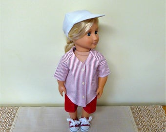 18 inch Girl or Boy Doll Clothes/Baseball Shirt, Pants, Hat and Canvas Shoes/Gender Neutral Sports Outfit/AG Clothes/American Doll Softball