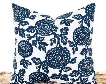 SALE ENDS SOON Navy Floral Thow Pillow Cover, Navy Slip Cover, Navy Blue Cushion Covers, Lumbar Pillow, Navy and White Pillows, Navy Pillowc