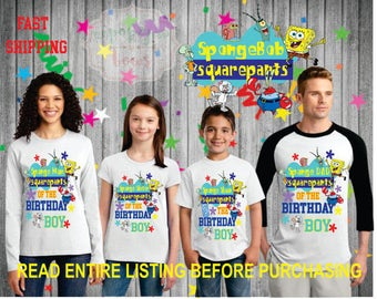 Spongebob SquarePants theme birthday BOY theme Shirts for the entire family Girl Dad Mom  Age Name Custom Raglan T-shirt Spongebob