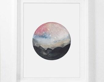 Watercolor Print, Mountain Watercolor, Water Color Art, Mountain Artwork, Watercolor Mountains, Printable Watercolor, Melinda Wood Designs