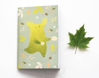 Blueberry tukoni notebook Cute sketchbook Animal notebook Green notebook Forest notebook Deer notebook Cute stationary Pocket journal Wood