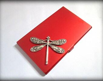 Dragonfly business card holder-slim credit card holder-fantacy dragon stainless steel card holder-gothic card holder-steampunk card holder