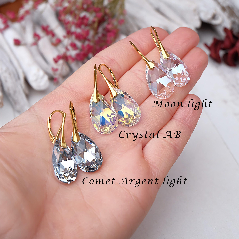 24k gold plated Swarovski crystal earrings Swarovski wedding ...