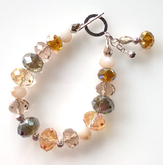 Multi-Color Crystal Bracelet, Gold Crystal Bracelet, Crystal Bracelet