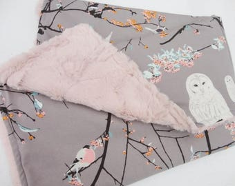 Snowy Owl Minky Baby Blanket - Made to Order