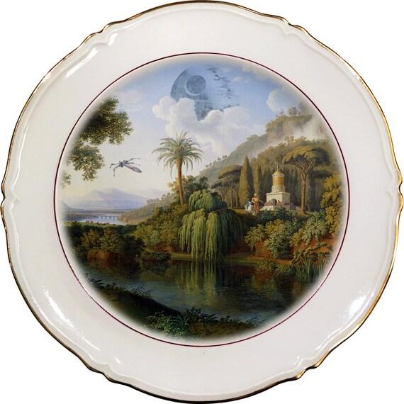 Death Star Landscape - R2D2 - C3PO - Star Wars - Vintage Porcelain Plate - #0471