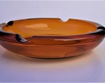 Vintage Tobacco Brown Glass Ashtray