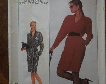 Simplicity 8824, size 14, mock wrap dress, UNCUT sewing pattern, craft supplies, misses, womens
