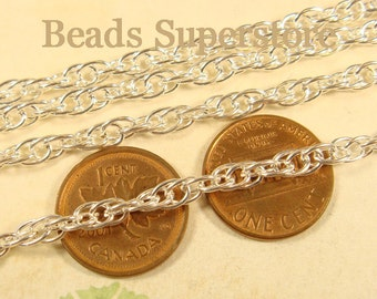 SALE 4 mm Silver-Plated Pretzel Chain - Nickel Free and Lead Free - 3 meters (about 10 feet)