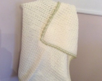 Ivory crocheted baby blanket