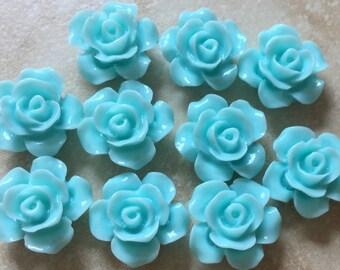 10 pcs 13 mm Aqua Blue cabochon Flowers.13 mm Blue Rose cabochon.flower kit,Blue rose cabochon flower,sky blue resin flower,light blue rose