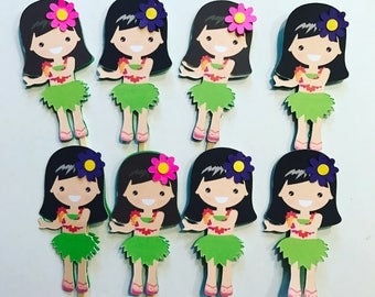 Hula girls luau/ hawaiian cupcake toppers
