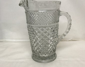 Vintage Anchor Hocking Wexford Pattern Clear Glass Pitcher Diamond Cut