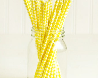 SALE Paper Straws in Yellow & White Harlequin Checkers - Set of 25 - Lemon Summer Pretty Wedding Birthday Party Shower Accessories Decor