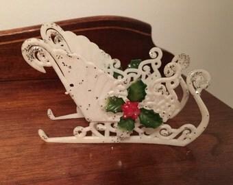 Vintage Christmas Santa's White Sleigh Plastic