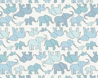 Lewis & Irene Welcome to the World A216.1 Marching Elephant Family Patchwork Quilting Dressmaking Fabric