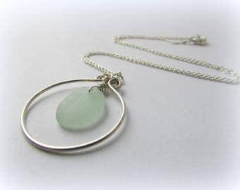 SALE Sea glass necklace. Maine jewelry. Sea glass jewelry. Sea glass pendant. Sterling silver jewelry. Sea Foam Sea Glass. Circle pendant.