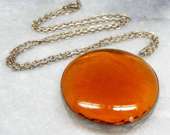 Vintage / Silver Large Golden Amber Glass Statement Pendant Necklace Chain