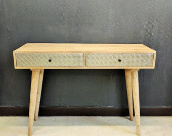 Console 2 drawer wood metal