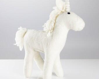 Big Unicorn - Felt animals - Needle felted Animal - Christmas - Wool felt - Woodland decorations - Baby shower-Merino wool -Ethical-Handmade