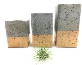 Square Concrete Succulent Planters/Air Plant Planters / Vase. (set of 3) GOLD.    FREE SHIPPING! Ready To Ship!