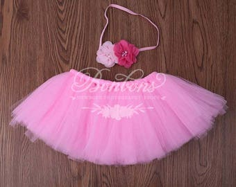 Tutu and Headband Set. Pink Tutu Set. Birthday Tutu Set. Photo Prop Tutu Set. Baby Tutu Set. Newborn Tutu Set. Baby Girl Tutu Set. RTS