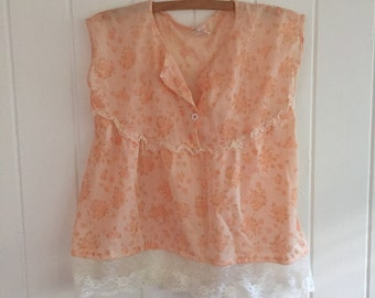 Girls vintage boho floral top