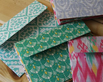 SET of 20 Handmade Pretty Paper Envelopes, Bright Pink, Green, Yellow/Envelope Size A7/Patterned Envelopes/Mailing Supplies/Stationary