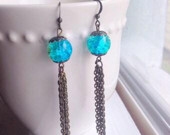 Boho Beaded Tassel Earrings/Bohemian Jewelry/Gypsy/Festival Wear/Chic/Trendy/Mermaid/Tassel Jewelry/Gift for Her