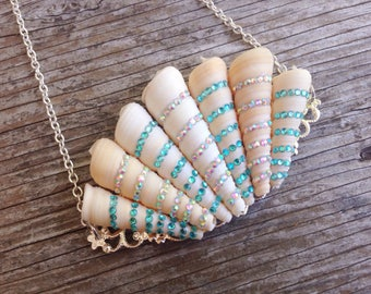 The Sea Queen•Seashell Crown Necklace, Mermaid Necklace, Mermaid Jewelry, Rhinestones, Siren, Beach, Ocean, Wedding, Bridal, Bridesmaids