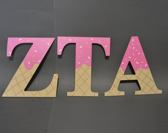 Sorority Greek Ice Cream Letters | Hand Painted | Wooden Letters