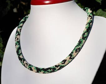 Crochet necklace handmade jewelry seed bead rope Beaded crochet rope Beaded Crochet necklace Green rope necklace