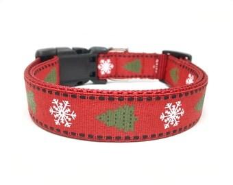 Christmas Dog Collar - Snowflakes  and Christmas tree Dog Collar Adjustable