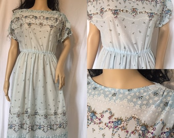 Vintage 70s Dress Sheer Floral Powder Blue Country Prairie Hippie Boho Tea Dress M