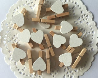 50 Pcs White Heart Wooden Clothespin Home or Wedding Decoration Heart Clothespin/Scrapbook Heart Pegs/Mini Heart Pegs