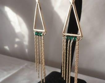 Egyptian Inspired Gold Matte Emerald Earrings*****.