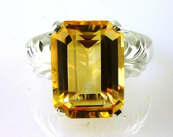 Beautifu Golden Citrine Emerald Cut Solitaire Ring 925 Sterling Silver