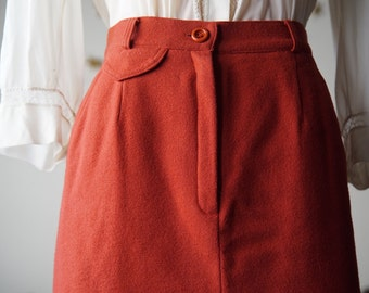 SALE 1940s style terracotta a line skirt